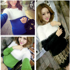 New Shop!Women's Long Sleeve Splice Color Knitted Sweater Mohair Elastic Sweater
