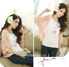 Women's Crochet Knits Shawl Batwing sleeve Hollow Out Cardigan Top Sweater*