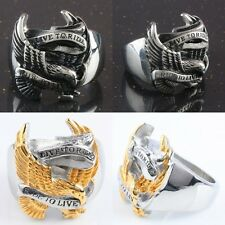 "Men's Biker Ring Stainless Steel Eagle ""Live To Ride,Ride To Live"" Finger Rings"