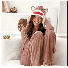 SOCK MONKEY WOMAN'S 2 PC HOODED & FOOTED PAJAMAS *S/M/L *IN HAND*