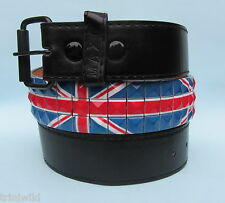 Union Jack 3 Row Studded Black Snap on Belt