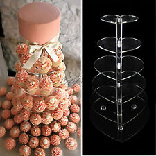 Heart Style Crystal Clear Acrylic Cupcake Stand Wedding Party High Tea Display