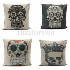 Vintage Skull Linen Cotton Throw Pillow Case Sofa Bed Home Decor Cushion Cover