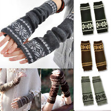 chiristmas Arm Hand Warmer Mitten Long Fingerless Snowflake Winter Gloves