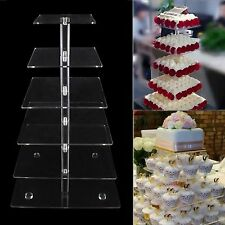New Square Crystal Clear Acrylic Cupcake Stand Wedding Party High Tea Display