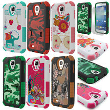 For Samsung Galaxy S4 SIV Rugged Hybrid Tough Defender Hard Case Stand + Screen