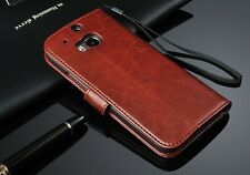 Luxury Glossy PU Leather Flip Card Wallet Case Stand Cover Pouch For HTC ONE M8
