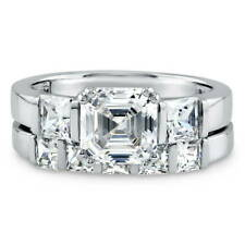 BERRICLE Sterling Silver Asscher CZ 3 Stone Engagement Wedding Ring Set