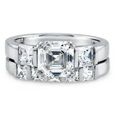 BERRICLE 925 Silver Asscher CZ 3-Stone 5-Stone Engagement Ring Set 3.68 Carat