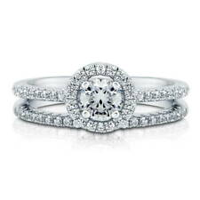 BERRICLE Sterling Silver 0.735 Carat Swarovski Zirconia Halo Engagement Ring Set