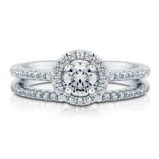 Silver Halo Promise Engagement Ring Set Made with Swarovski Zirconia 0.735 CT