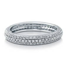 BERRICLE Sterling Silver 3-Row Eternity Ring with Swarovski Zirconia