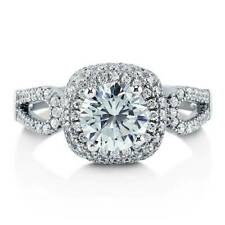 BERRICLE Sterling Silver 1.79 Carat Round Cut CZ Halo Engagement Ring