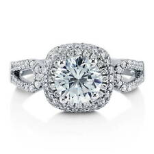 BERRICLE Sterling Silver Round Cut CZ Halo Engagement Ring 1.79 Carat