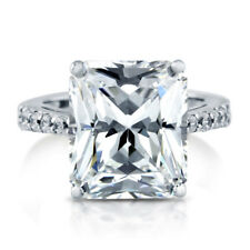 BERRICLE Sterling Silver Emerald Cut CZ Solitaire Engagement Ring 11.62 Carat
