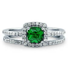 BERRICLE Silver Cushion Simulated Emerald CZ Halo Engagement Ring Set 0.885 CTW