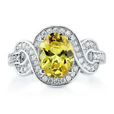 Silver 2.12 CT Oval Simulated Citrine CZ Solitaire Woven Promise Engagement Ring