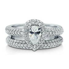 BERRICLE Sterling Silver 1.545 Carat Pear CZ Halo Engagement Stackable Ring Set