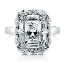 BERRICLE Sterling Silver Emerald Cut CZ Halo Art Deco Engagement Ring 3.04 Carat
