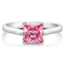 BERRICLE Sterling Silver Princess Pink CZ Solitaire Engagement Ring 1.59 Carat