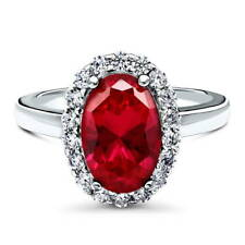 BERRICLE Sterling Silver 3.53 Carat Oval Simulated Ruby CZ Halo Engagement Ring