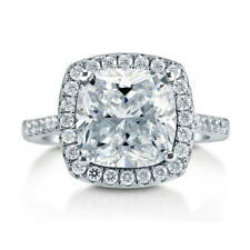 BERRICLE Sterling Silver Cushion Cut CZ Halo Engagement Ring 4.38 Carat