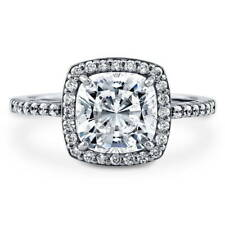 BERRICLE Sterling Silver 2.22 Carat Cushion Cut CZ Halo Engagement Ring