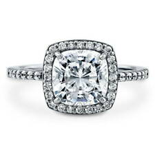 BERRICLE Sterling Silver Cushion Cut CZ Halo Engagement Ring 2.22 Carat