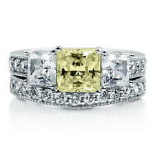 BERRICLE Silver Princess Canary Yellow CZ 3-Stone Engagement Ring Set 3.7 Carat