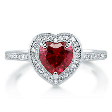 Silver 1.34 CT Heart Shaped Simulated Ruby CZ  Halo Promise Engagement Ring