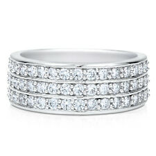 BERRICLE Sterling Silver Round CZ Anniversary Half Eternity Band Ring 0.51 Carat