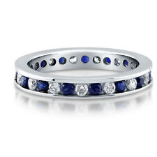 BERRICLE Sterling Silver Simulated Blue Sapphire CZ Eternity Band Ring