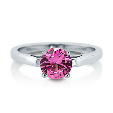 BERRICLE Sterling Silver 1.28 Carat Round Cut Pink CZ Solitaire Engagement Ring