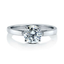 BERRICLE Sterling Silver 1.28 Carat Round Cut CZ Solitaire Engagement Ring