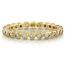 BERRICLE Gold Flashed Silver Cubic Zirconia CZ Bubble Eternity Ring 0.345 Carat