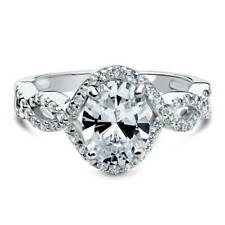 BERRICLE Silver Oval Cubic Zirconia CZ Solitaire Woven Engagement Ring 2.33 CTW