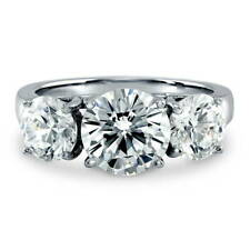BERRICLE Sterling Silver Round Cut CZ 3-Stone Engagement Ring 3.72 Carat