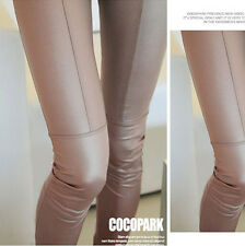 New Women Faux PU Leather Pants Tights Pencil Stretchy Skinny Pants Trousers