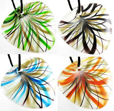 Nice Sector Shape Colored Gold-Dust Ribbon Murano Lucency Glass Pendant Necklace