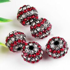 5pc Multicolor Crystal Spacer Disco Pave Ball Loose Bead Color Pick Jewelry Gift