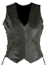 Classic Ladies Side Lace Cowhide Leather Vests