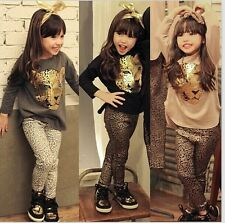 2Pcs Girls Infants Kids Toddlers Leopard Long Sleeve+ leggings Pants Clothes Set