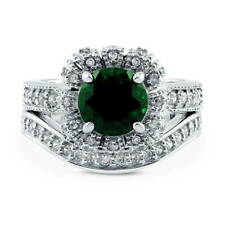 Silver Simulated Emerald CZ Art Deco Crown Halo Engagement Ring Set 2.7 CT