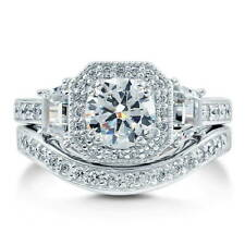 BERRICLE Sterling Silver Round CZ Art Deco Halo Engagement Ring Set 2.21 Carat