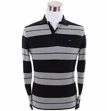 Tommy Hilfiger Men Long Sleeve Stripe Classic Fit Rugby Polo Shirt -Free $0 Ship