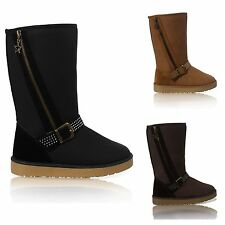 WOMENS LADIES FLAT FAUX FUR LINED BUCKLE SNUGG WINTER ZIP ANKLE BOOTS SHOES 3-8
