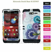 For Motorola Droid RAZR M Colorful Flowers Hybrid Rugged Impact Armor Phone Case