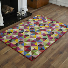 NEW X LARGE LARGE MEDIUM SMALL MULTI COLOUR DIAMOND PATTERN CHEAP SOFT RUG MAT