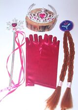 Frozen Girls Elsa Anna Princess Party Crown Tiara Wig Wand Set 4 Piece Cosplay