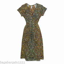 NEW EX MONSOON BLACK BROWN CREAM AZTEC WRAP STYLE SUMMER VINTAGE PARTY DRESS